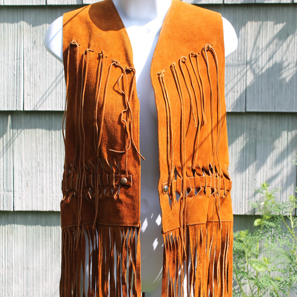 Vintage Jackets & Blazers - Vintage Golden Brown Leather Fringe Western Vest